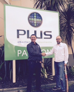 NCA General Manager Warren Marr with new Sponsor Brent Martin of Plus Chartered Accountants.
